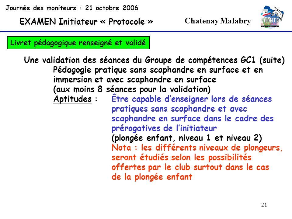 21 Chatenay Malabry Journée des moniteurs : 21 octobre 2006 EXAMEN Initiateur « Protocole » Livret pédagogique renseigné et validé Une validation des