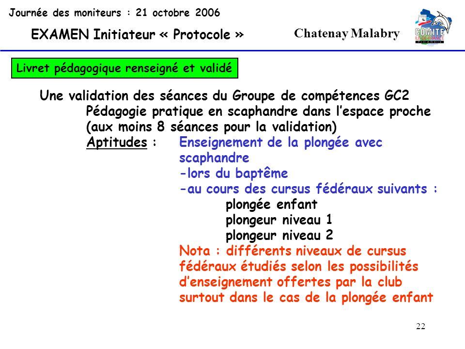 22 Chatenay Malabry Journée des moniteurs : 21 octobre 2006 EXAMEN Initiateur « Protocole » Livret pédagogique renseigné et validé Une validation des