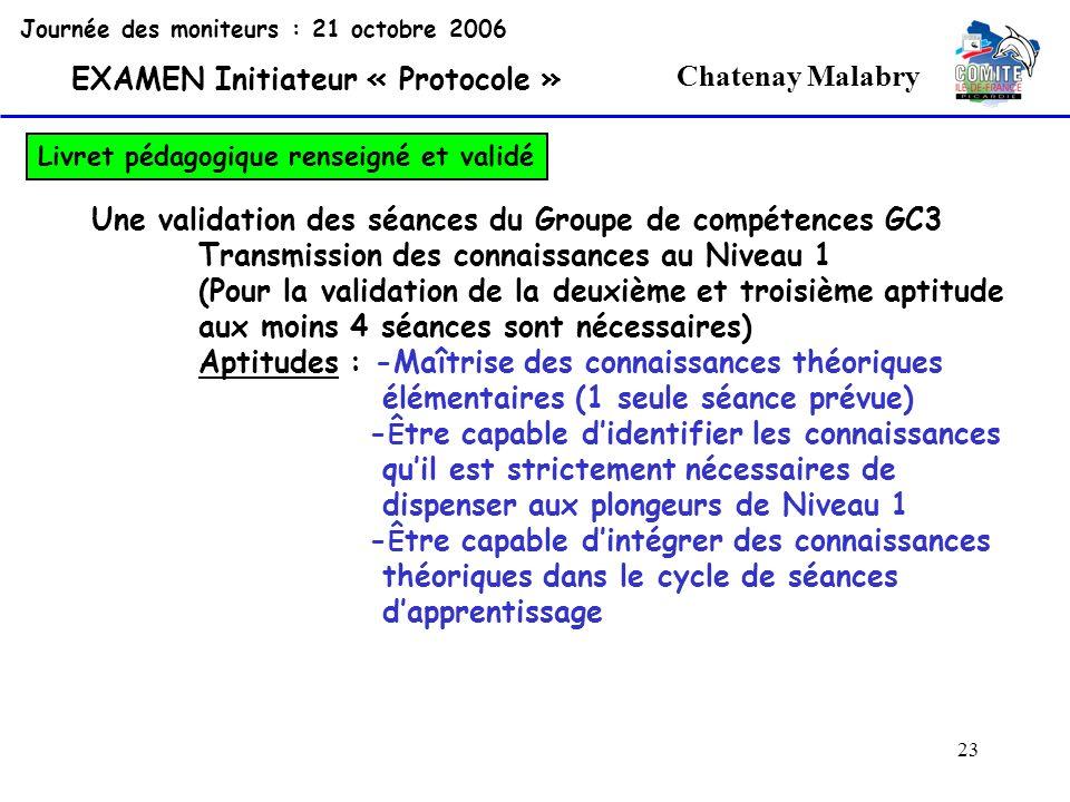 23 Chatenay Malabry Journée des moniteurs : 21 octobre 2006 EXAMEN Initiateur « Protocole » Livret pédagogique renseigné et validé Une validation des