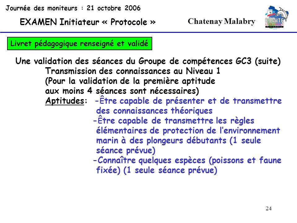 24 Chatenay Malabry Journée des moniteurs : 21 octobre 2006 EXAMEN Initiateur « Protocole » Livret pédagogique renseigné et validé Une validation des