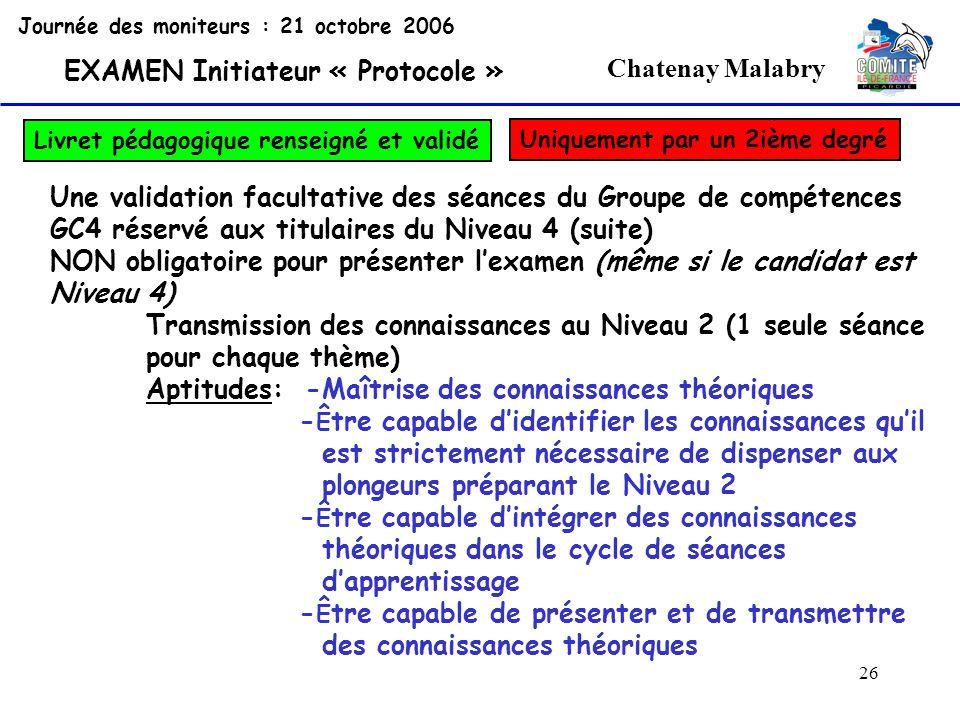 26 Chatenay Malabry Journée des moniteurs : 21 octobre 2006 EXAMEN Initiateur « Protocole » Livret pédagogique renseigné et validé Une validation facu