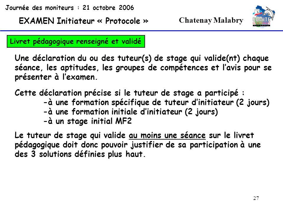 27 Chatenay Malabry Journée des moniteurs : 21 octobre 2006 EXAMEN Initiateur « Protocole » Livret pédagogique renseigné et validé Une déclaration du