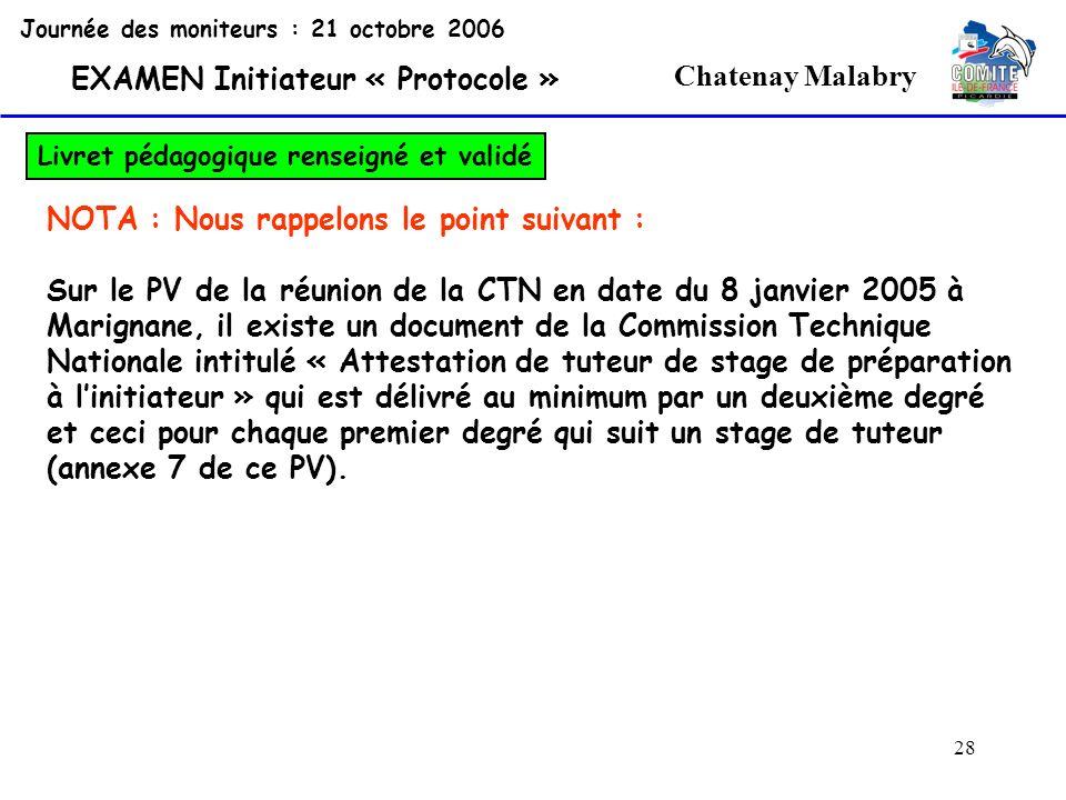 28 Chatenay Malabry Journée des moniteurs : 21 octobre 2006 EXAMEN Initiateur « Protocole » Livret pédagogique renseigné et validé NOTA : Nous rappelo