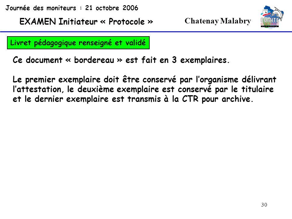 30 Chatenay Malabry Journée des moniteurs : 21 octobre 2006 EXAMEN Initiateur « Protocole » Livret pédagogique renseigné et validé Ce document « borde