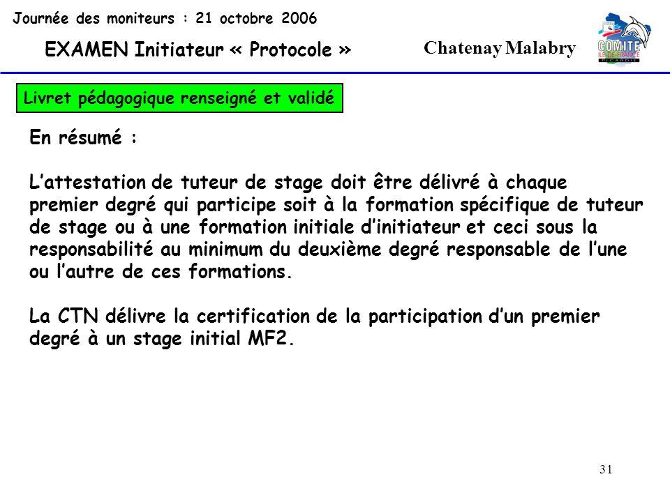 31 Chatenay Malabry Journée des moniteurs : 21 octobre 2006 EXAMEN Initiateur « Protocole » Livret pédagogique renseigné et validé En résumé : Lattest