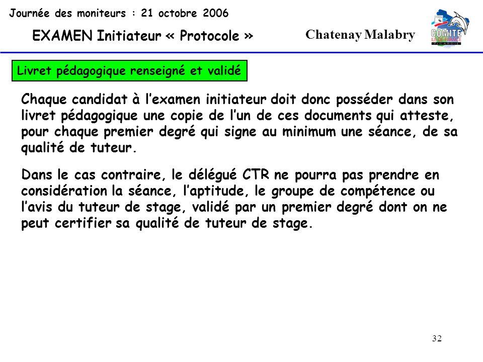 32 Chatenay Malabry Journée des moniteurs : 21 octobre 2006 EXAMEN Initiateur « Protocole » Livret pédagogique renseigné et validé Chaque candidat à l