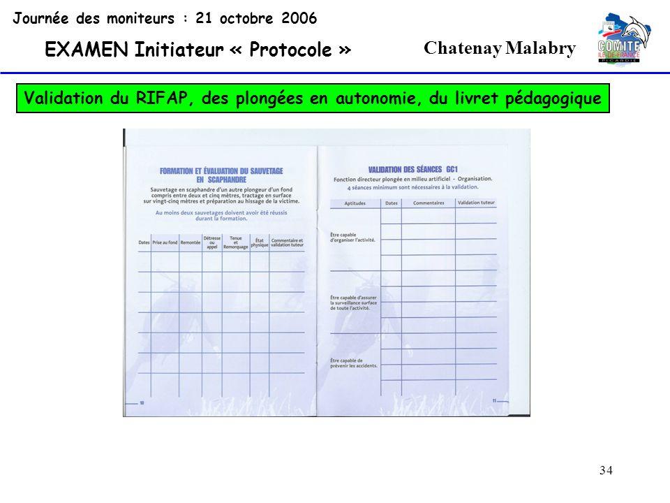 34 Chatenay Malabry Journée des moniteurs : 21 octobre 2006 EXAMEN Initiateur « Protocole » Validation du RIFAP, des plongées en autonomie, du livret
