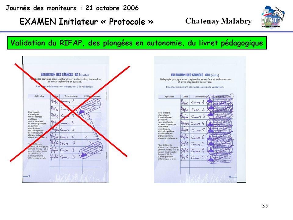 35 Chatenay Malabry Journée des moniteurs : 21 octobre 2006 EXAMEN Initiateur « Protocole » Validation du RIFAP, des plongées en autonomie, du livret
