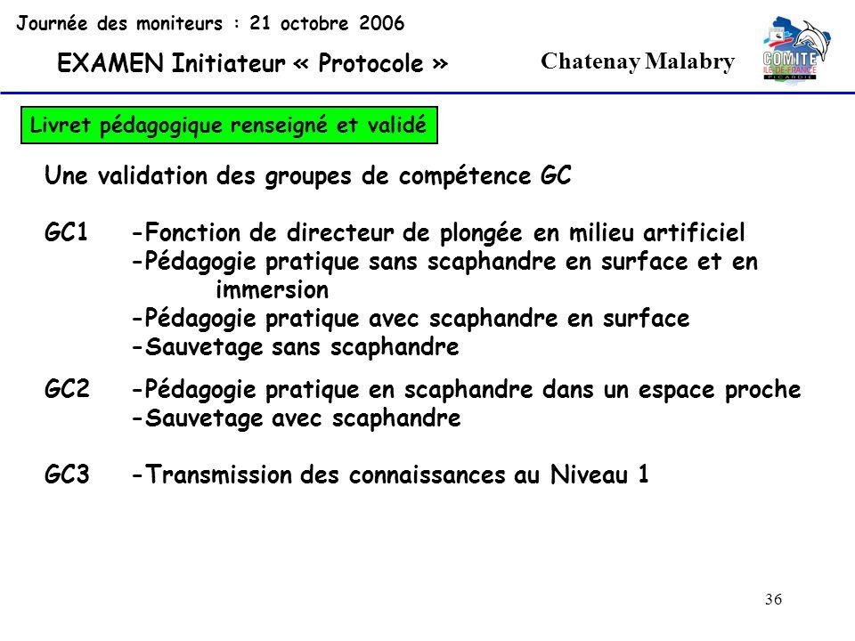 36 Chatenay Malabry Journée des moniteurs : 21 octobre 2006 EXAMEN Initiateur « Protocole » Livret pédagogique renseigné et validé Une validation des