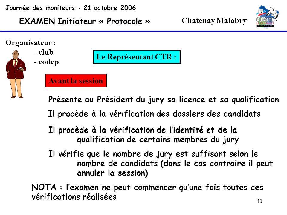41 Chatenay Malabry Organisateur : - club - codep Le Représentant CTR : Journée des moniteurs : 21 octobre 2006 EXAMEN Initiateur « Protocole » Avant