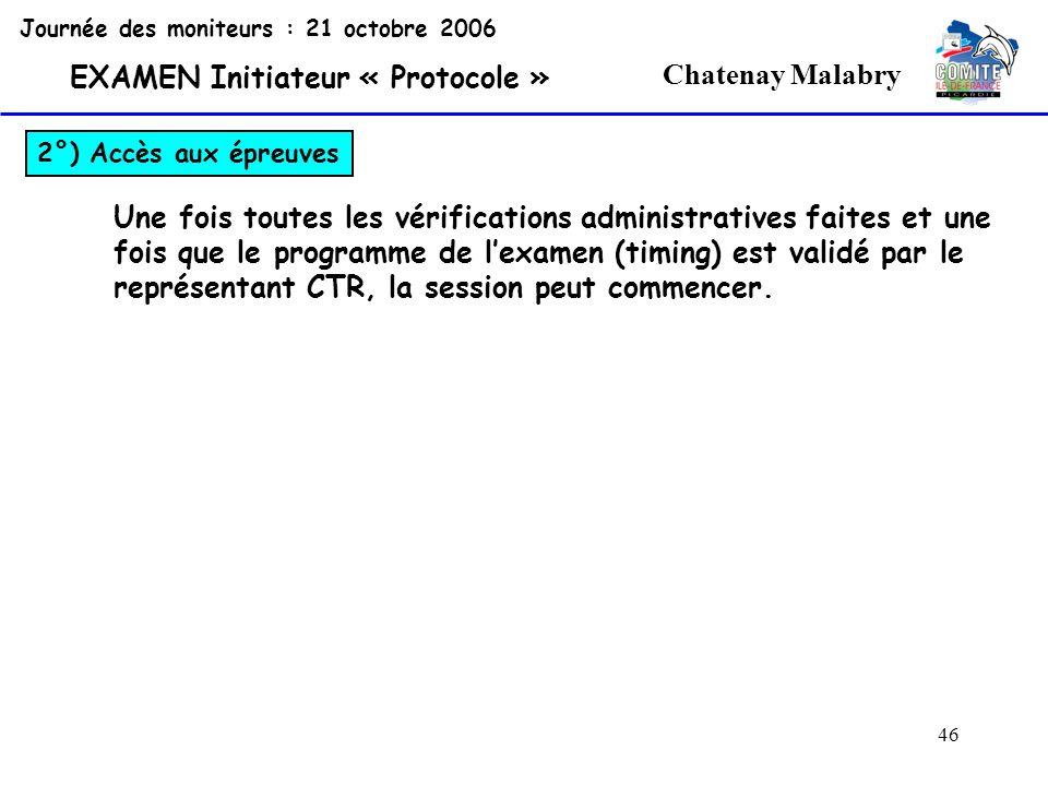 46 Chatenay Malabry Journée des moniteurs : 21 octobre 2006 EXAMEN Initiateur « Protocole » 2°) Accès aux épreuves Une fois toutes les vérifications a