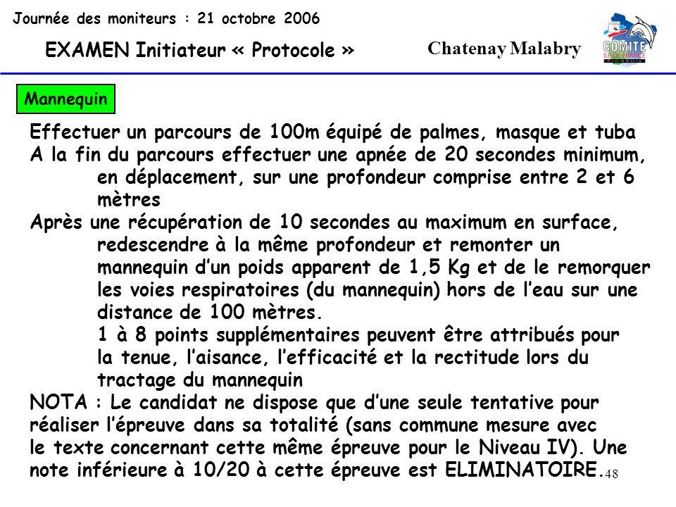 48 Chatenay Malabry Journée des moniteurs : 21 octobre 2006 EXAMEN Initiateur « Protocole » Mannequin Effectuer un parcours de 100m équipé de palmes,