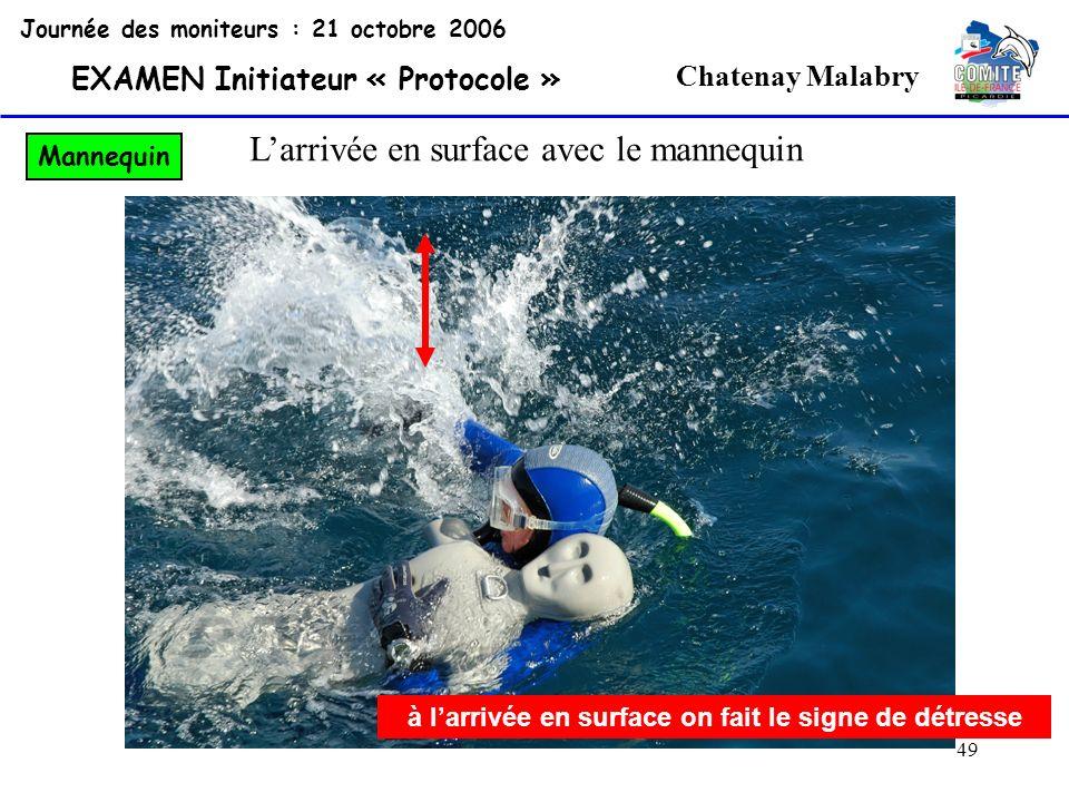 49 Chatenay Malabry Journée des moniteurs : 21 octobre 2006 EXAMEN Initiateur « Protocole » Mannequin à larrivée en surface on fait le signe de détres