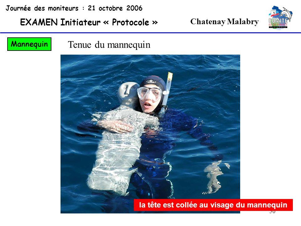 50 Chatenay Malabry Journée des moniteurs : 21 octobre 2006 EXAMEN Initiateur « Protocole » Mannequin la tête est collée au visage du mannequin Tenue