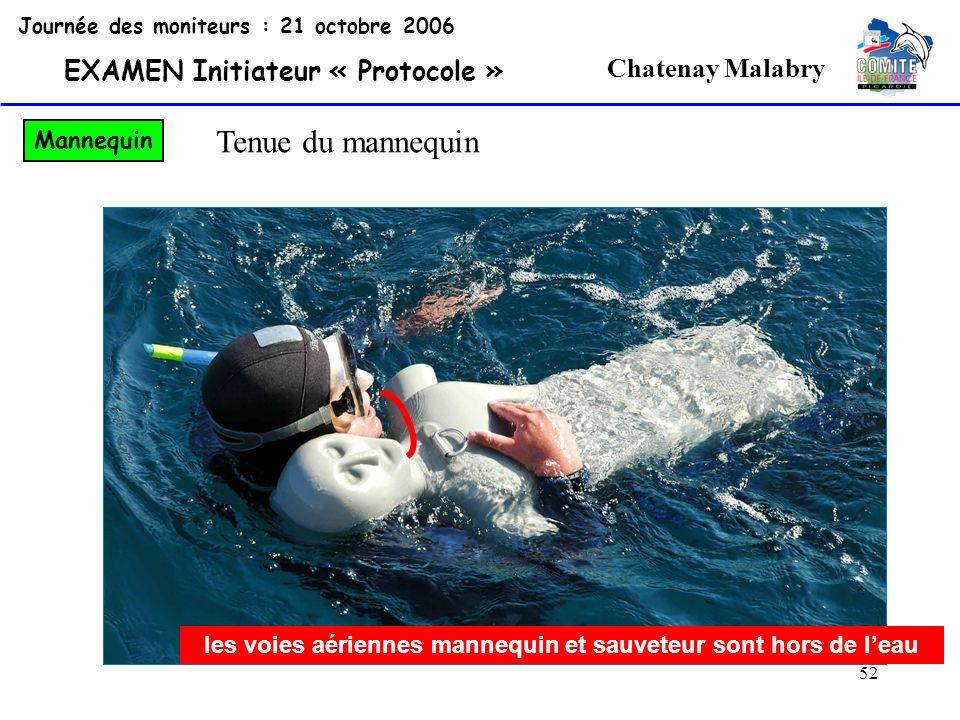 52 Chatenay Malabry Journée des moniteurs : 21 octobre 2006 EXAMEN Initiateur « Protocole » Mannequin Tenue du mannequin les voies aériennes mannequin