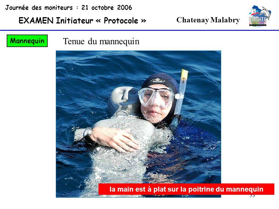 53 Chatenay Malabry Journée des moniteurs : 21 octobre 2006 EXAMEN Initiateur « Protocole » Mannequin Tenue du mannequin la main est à plat sur la poi