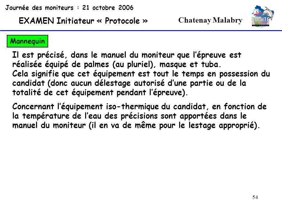 54 Chatenay Malabry Journée des moniteurs : 21 octobre 2006 EXAMEN Initiateur « Protocole » Mannequin Il est précisé, dans le manuel du moniteur que l