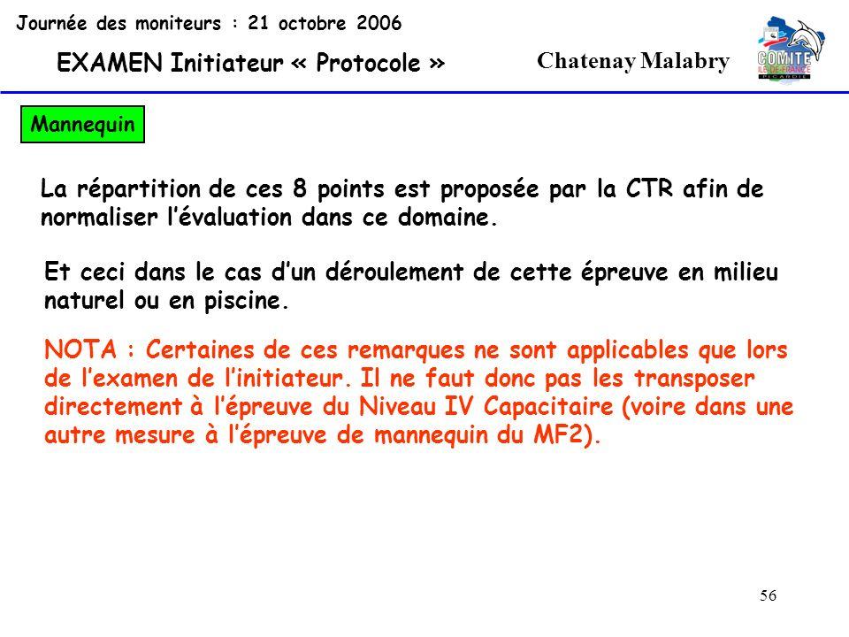 56 Chatenay Malabry Journée des moniteurs : 21 octobre 2006 EXAMEN Initiateur « Protocole » Mannequin La répartition de ces 8 points est proposée par