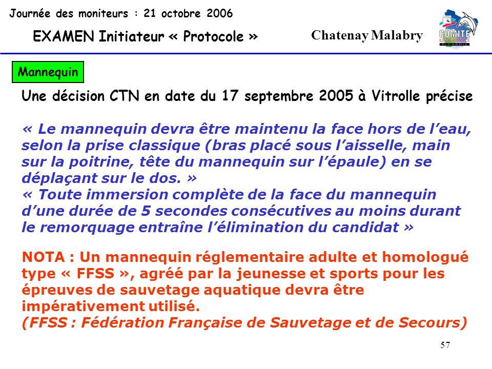 57 Chatenay Malabry Journée des moniteurs : 21 octobre 2006 EXAMEN Initiateur « Protocole » Mannequin Une décision CTN en date du 17 septembre 2005 à