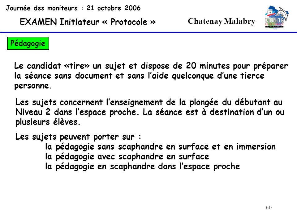 60 Chatenay Malabry Journée des moniteurs : 21 octobre 2006 EXAMEN Initiateur « Protocole » Pédagogie Le candidat «tire» un sujet et dispose de 20 min