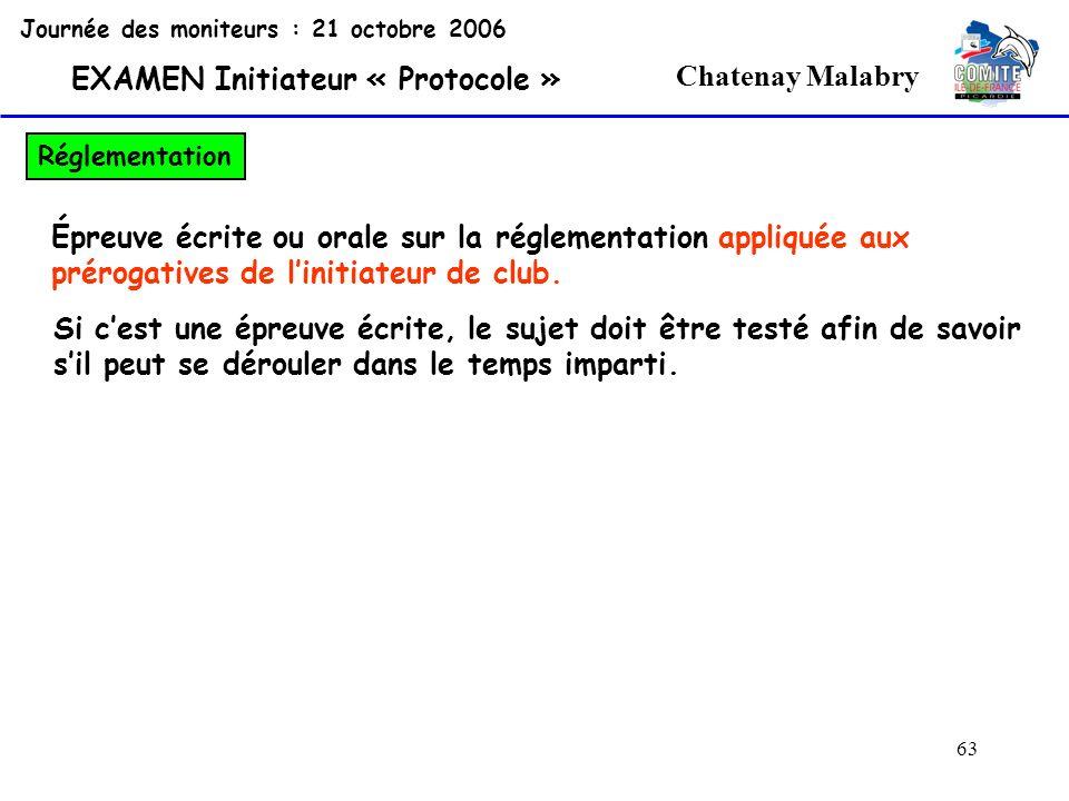 63 Chatenay Malabry Journée des moniteurs : 21 octobre 2006 EXAMEN Initiateur « Protocole » Réglementation Épreuve écrite ou orale sur la réglementati
