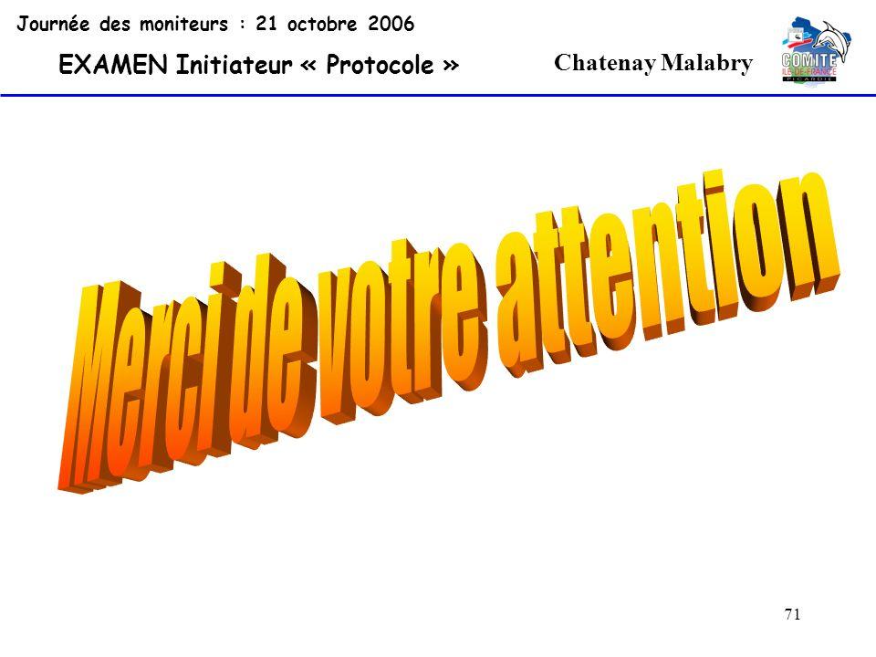 71 Chatenay Malabry Journée des moniteurs : 21 octobre 2006 EXAMEN Initiateur « Protocole »