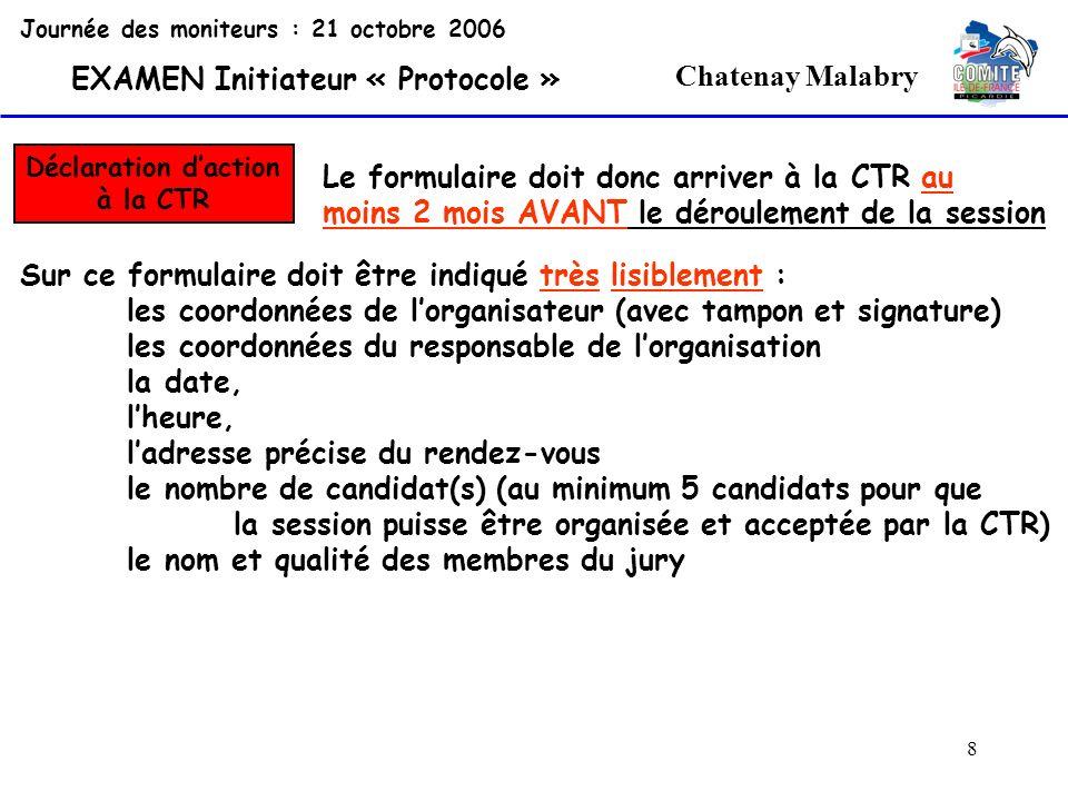 8 Chatenay Malabry Journée des moniteurs : 21 octobre 2006 EXAMEN Initiateur « Protocole » Déclaration daction à la CTR Le formulaire doit donc arrive