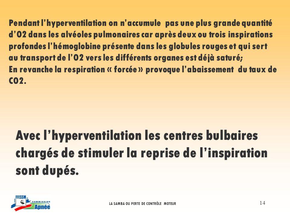 LA SAMBA OU PERTE DE CONTRÔLE MOTEUR 14 Pendant lhyperventilation on naccumule pas une plus grande quantité dO2 dans les alvéoles pulmonaires car aprè