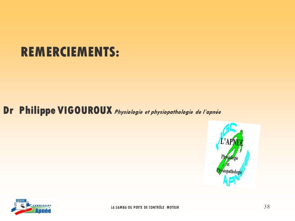 LA SAMBA OU PERTE DE CONTRÔLE MOTEUR 38 REMERCIEMENTS: Dr Philippe VIGOUROUX Physiologie et physiopathologie de lapnée