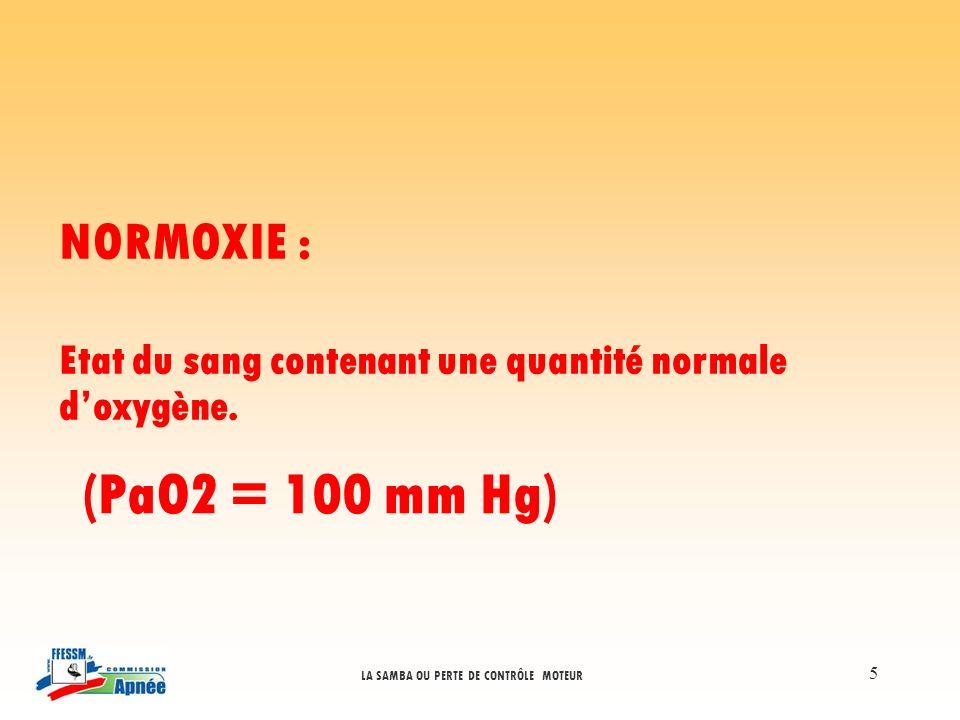 5 NORMOXIE : Etat du sang contenant une quantité normale doxygène. (PaO2 = 100 mm Hg)