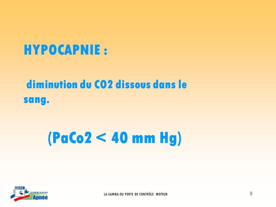 LA SAMBA OU PERTE DE CONTRÔLE MOTEUR 8 HYPOCAPNIE : diminution du CO2 dissous dans le sang. (PaCo2 < 40 mm Hg)