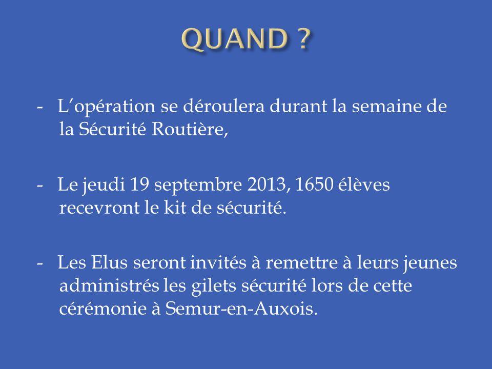 - Lopération se déroulera durant la semaine de la Sécurité Routière, - Le jeudi 19 septembre 2013, 1650 élèves recevront le kit de sécurité. - Les Elu