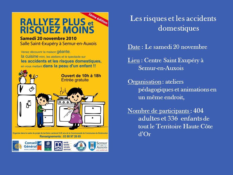 Les risques et les accidents domestiques Date : Le samedi 20 novembre Lieu : Centre Saint Exupéry à Semur-en-Auxois Organisation : ateliers pédagogiqu