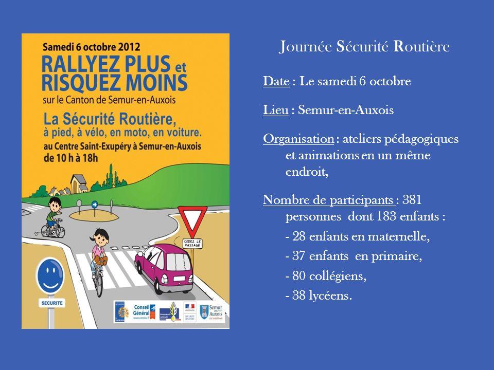 Journée Sécurité Routière Date : Le samedi 6 octobre Lieu : Semur-en-Auxois Organisation : ateliers pédagogiques et animations en un même endroit, Nom