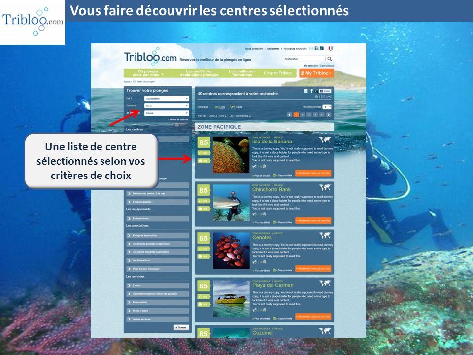 Léquipe Vous faire découvrir les centres sélectionnés Descriptif des spots couverts Les avis des plongeurs Tarifs préférentiels Réservation « online »