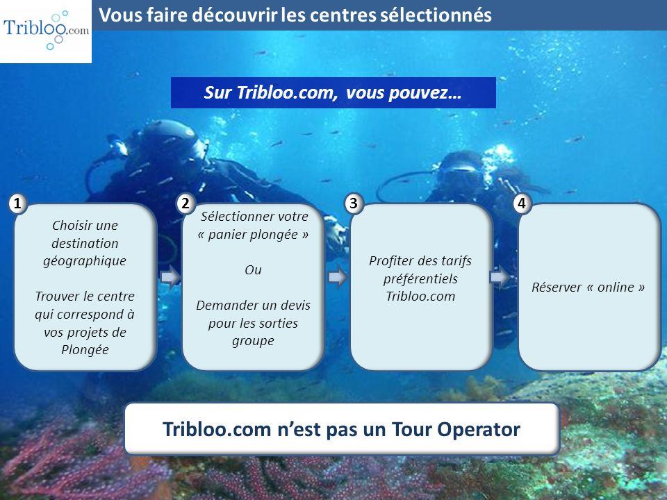 Sur Tribloo.com, vous pouvez… Choisir une destination géographique Trouver le centre qui correspond à vos projets de Plongée 1 Sélectionner votre « pa