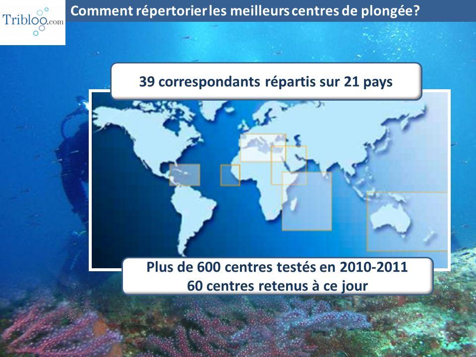 39 correspondants répartis sur 21 pays Plus de 600 centres testés en 2010-2011 60 centres retenus à ce jour