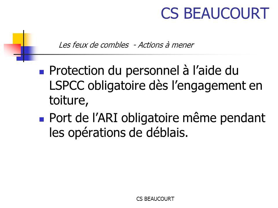 CS BEAUCOURT Protection du personnel à laide du LSPCC obligatoire dès lengagement en toiture, Port de lARI obligatoire même pendant les opérations de déblais.