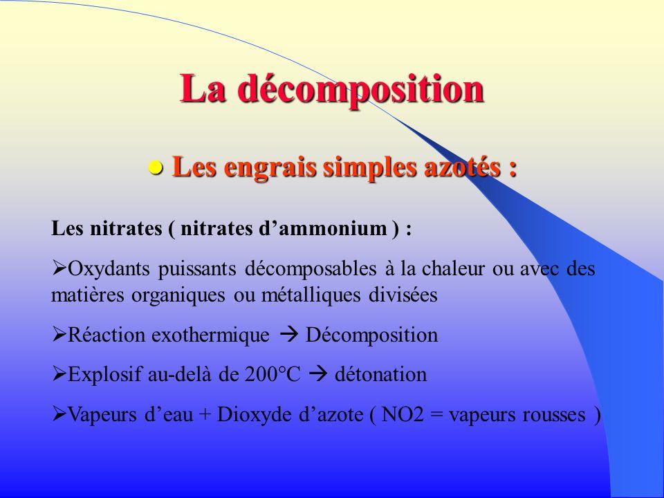 La décomposition Les engrais simples azotés : Les engrais simples azotés : Les nitrates ( nitrates dammonium ) : Oxydants puissants décomposables à la