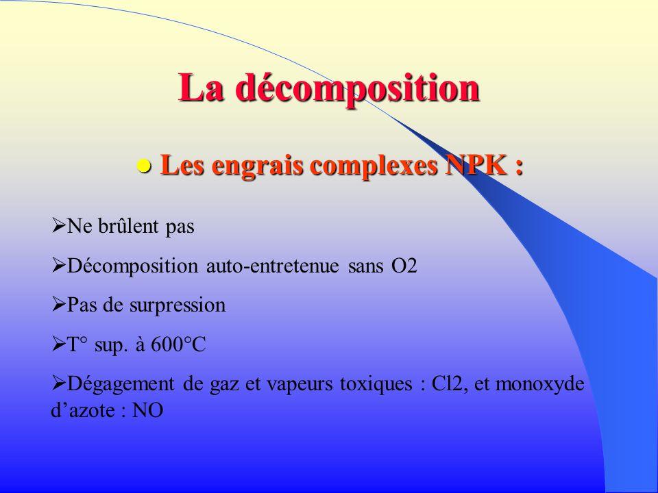 La décomposition Les engrais complexes NPK : Les engrais complexes NPK : Ne brûlent pas Décomposition auto-entretenue sans O2 Pas de surpression T° su