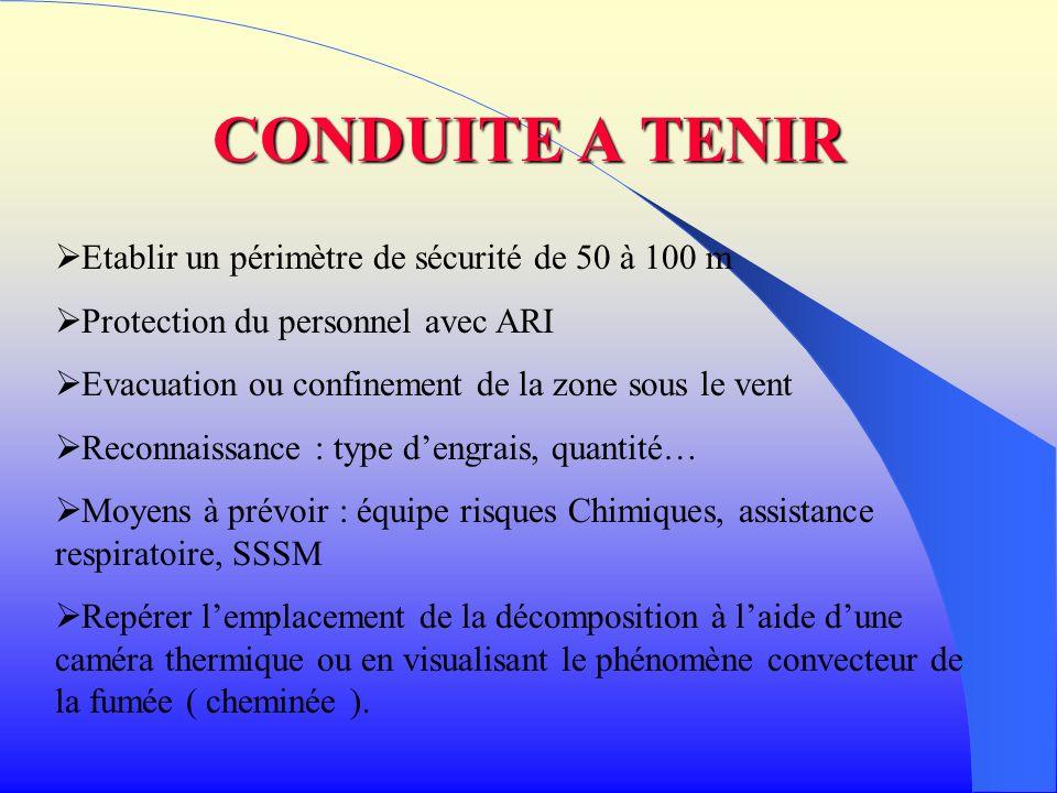 CONDUITE A TENIR Etablir un périmètre de sécurité de 50 à 100 m Protection du personnel avec ARI Evacuation ou confinement de la zone sous le vent Rec