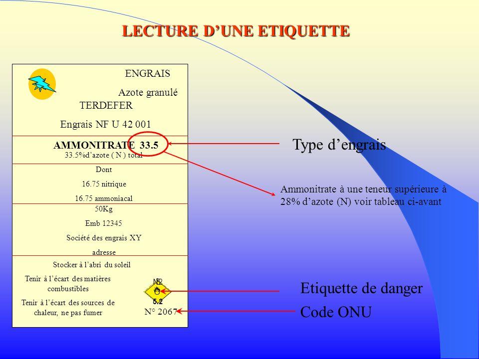 Type dengrais Ammonitrate à une teneur supérieure à 28% dazote (N) voir tableau ci-avant Etiquette de danger Code ONU LECTURE DUNE ETIQUETTE