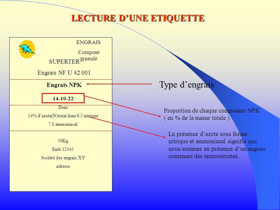 ENGRAIS Composé granulé SUPERTER Engrais NF U 42 001 Engrais NPK 14-10-22 Dont 14% dazote(N)total dont 6.2 nitrique 7.8 ammoniacal 50Kg Emb 12345 Soci