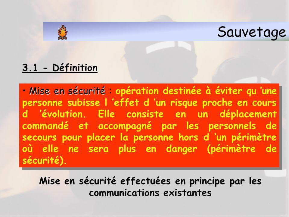 Sauvetage 3.1 - Définition Sauvetage Sauvetage : opération visant à soustraire d un péril direct et imminent une personne ou un animal dans l impossib