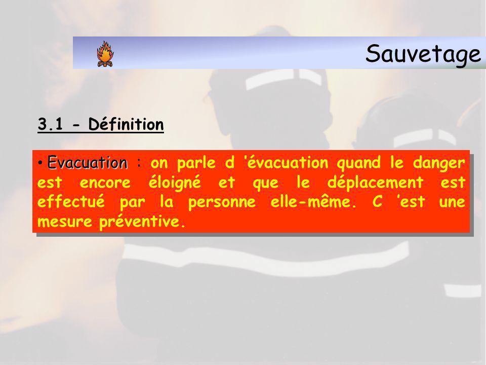 Sauvetage 3.1 - Définition Mise en sécurité Mise en sécurité : opération destinée à éviter qu une personne subisse l effet d un risque proche en cours