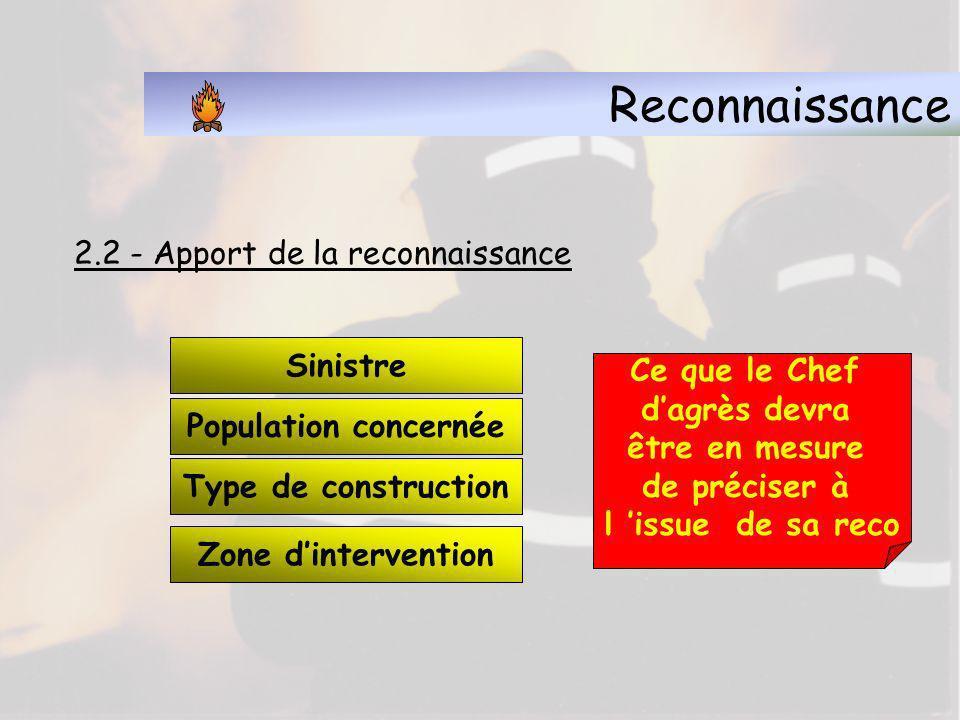La reconnaissance 2.1 La reconnaissance consiste : à explorer les endroits exposés à l incendie et aux fumées, de manière à faire tout de suite les sa