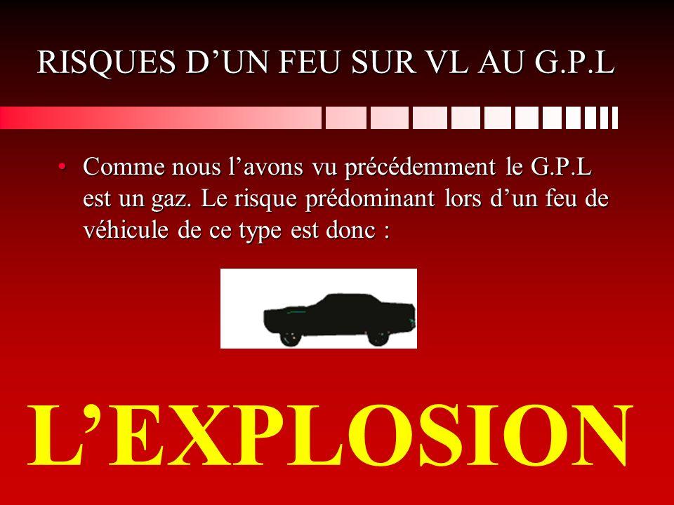 RISQUES DUN FEU SUR VL AU G.P.L Comme nous lavons vu précédemment le G.P.L est un gaz.