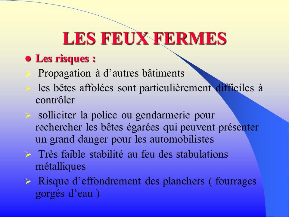 LES FEUX FERMES Les risques (suite) : Les risques (suite) : Risques chimiques suites aux produits phytosanitaires utilisés dans lexploitation.