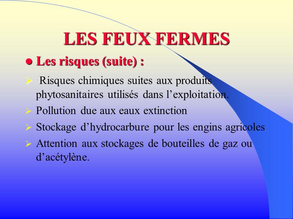 LES FEUX FERMES Les moyens à prévoir : Les moyens à prévoir : DA, CECI,éclairage, vétérinaire, engins agricoles pour déblai, Risque chimiques si présence dengrais.
