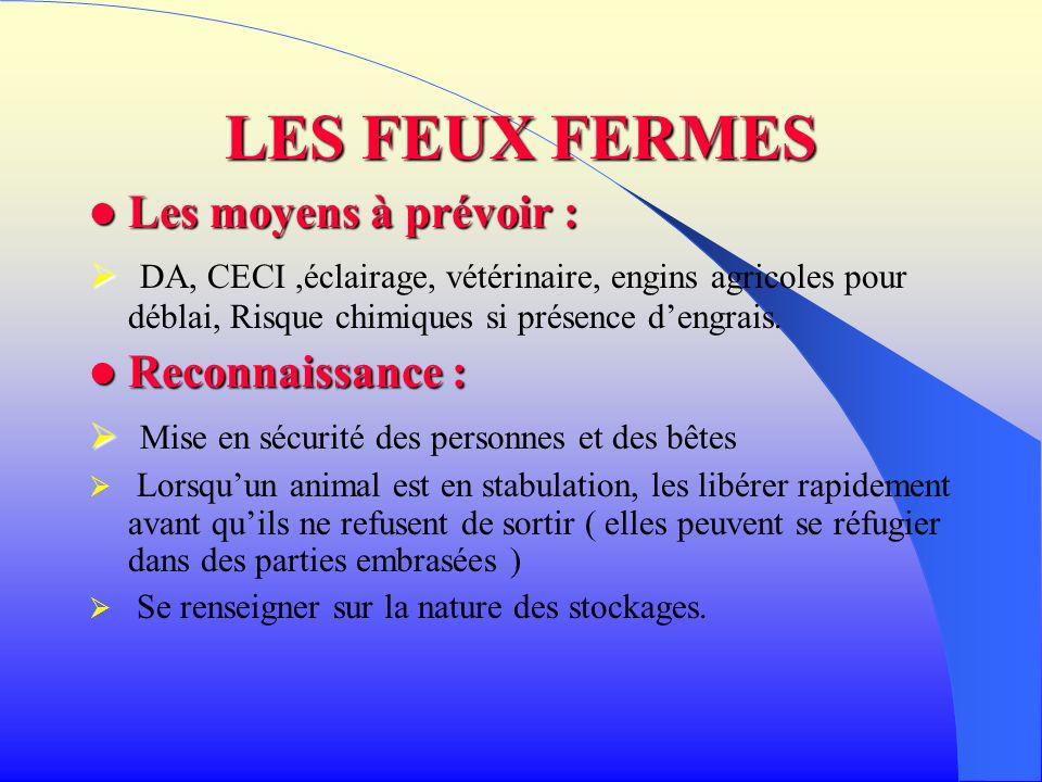 LES FEUX FERMES Les moyens à prévoir : Les moyens à prévoir : DA, CECI,éclairage, vétérinaire, engins agricoles pour déblai, Risque chimiques si prése